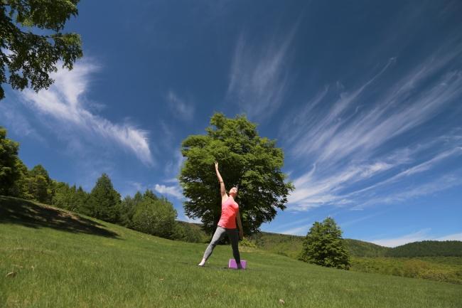 奥志賀高原の大自然に囲まれた「森林ヨガ」で究極の癒やしを!